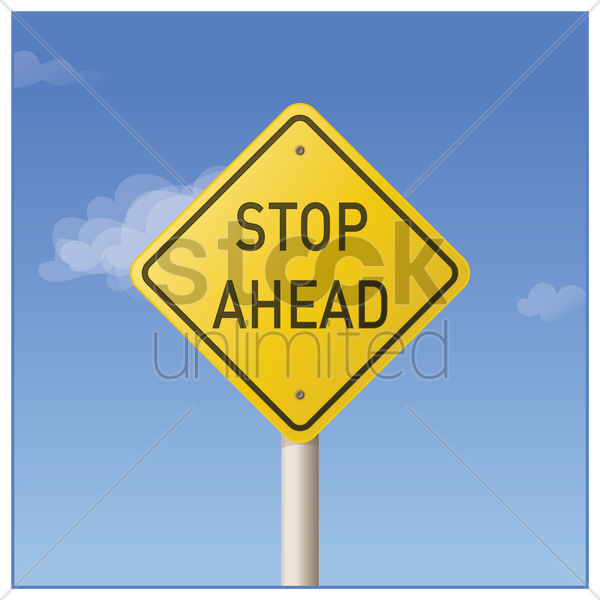 stop ahead road sign vector graphic