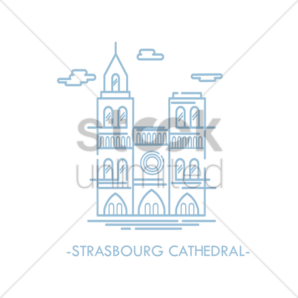 strasbourg cathedral vector graphic