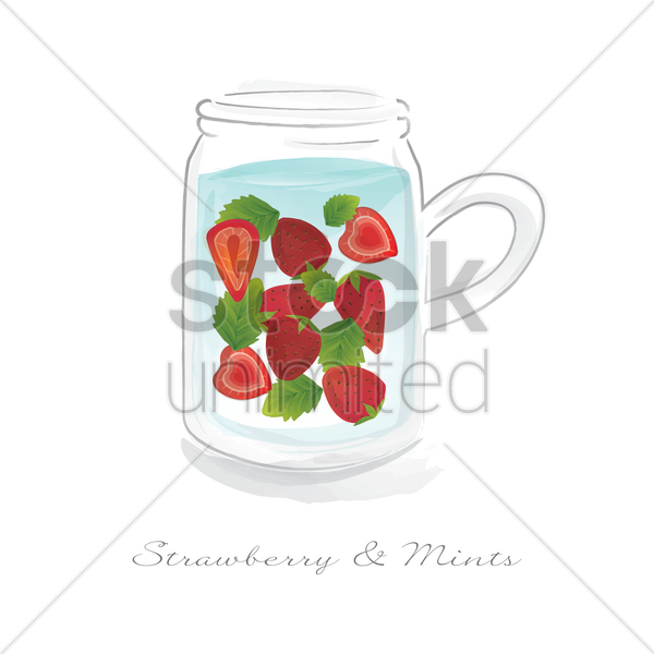 strawberries and mints in a jar vector graphic