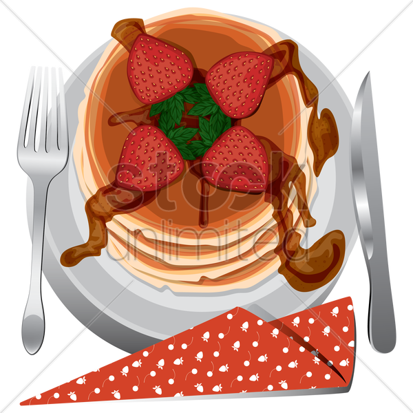 strawberry pancake in a plate vector graphic
