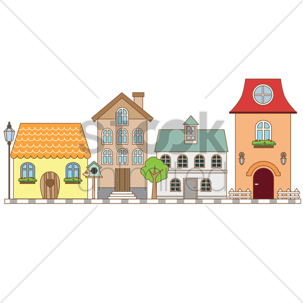 street with houses vector graphic