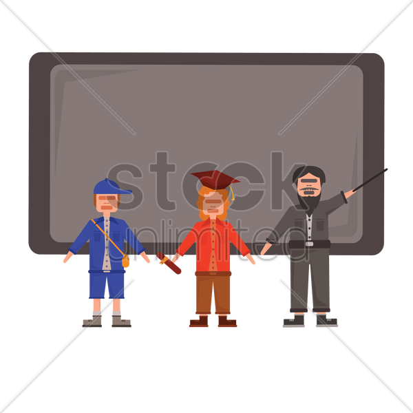 Free student,graduate and teacher in a classroom vector graphic