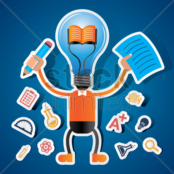 student with light bulb head vector graphic