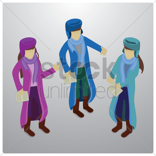 students holding notes vector graphic