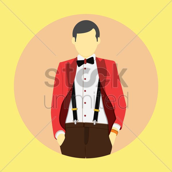 stylish man in bow tie and hot red jacket vector graphic