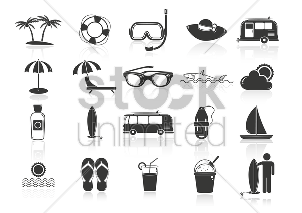 summer beach icons set vector graphic