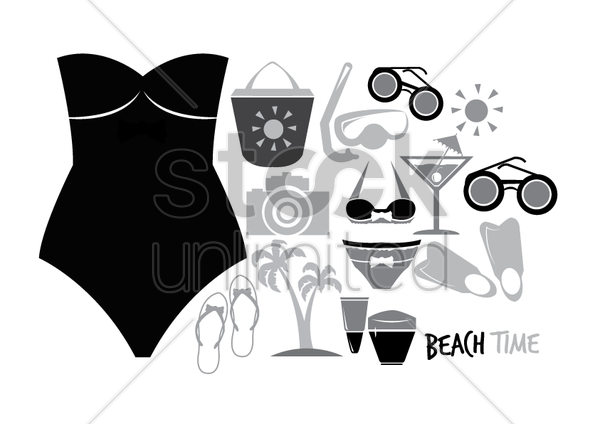 summer collection icons vector graphic