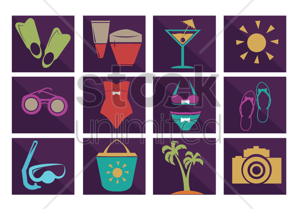 Free summer collection icons vector graphic