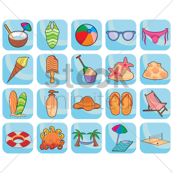 summer holiday collection vector graphic