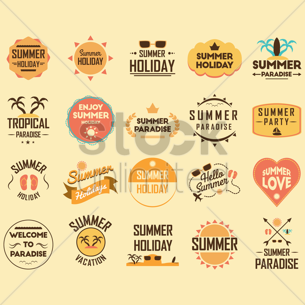 summer holiday design collection vector graphic