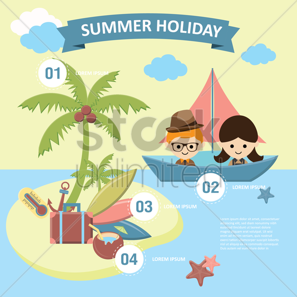 summer holiday infographic vector graphic