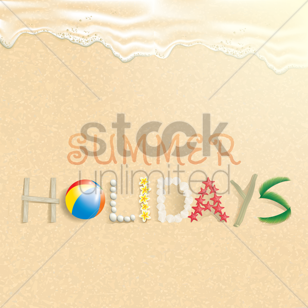 summer holidays on beach vector graphic