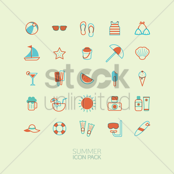 summer icon pack vector graphic