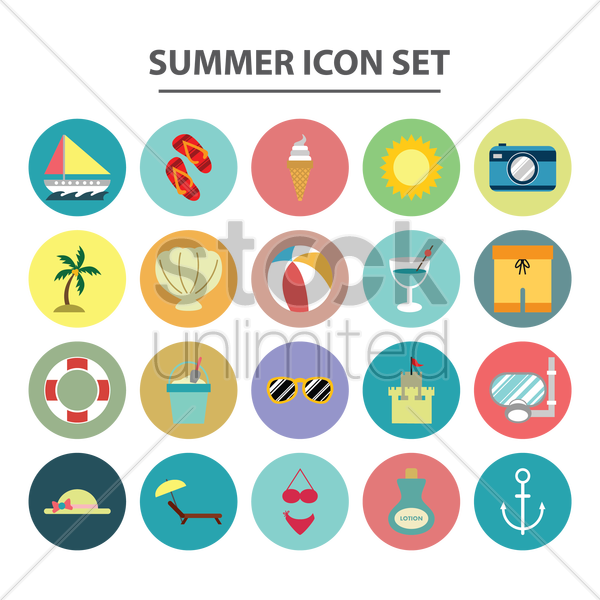 summer icon set vector graphic