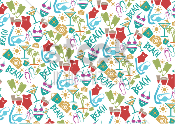 summer icons background vector graphic