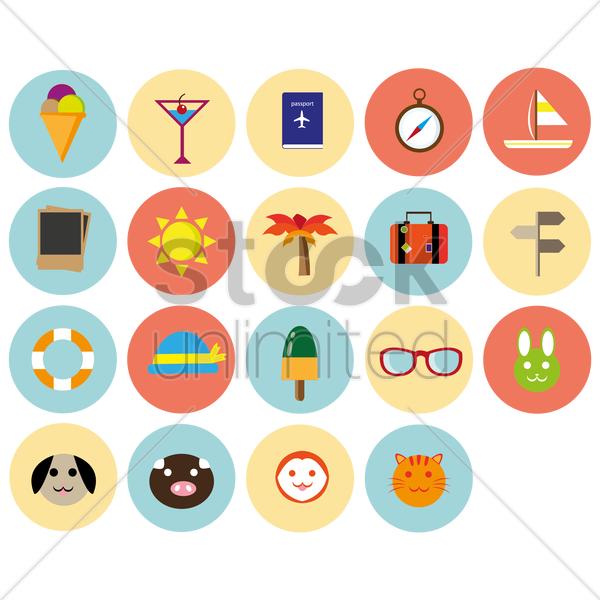 summer icons vector graphic
