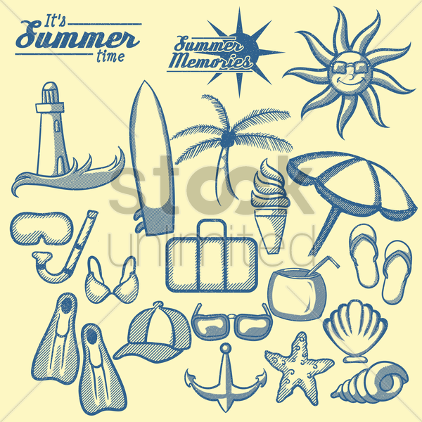 summer memories icons vector graphic