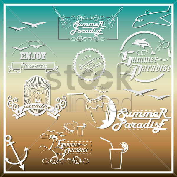 summer paradise wallpaper vector graphic