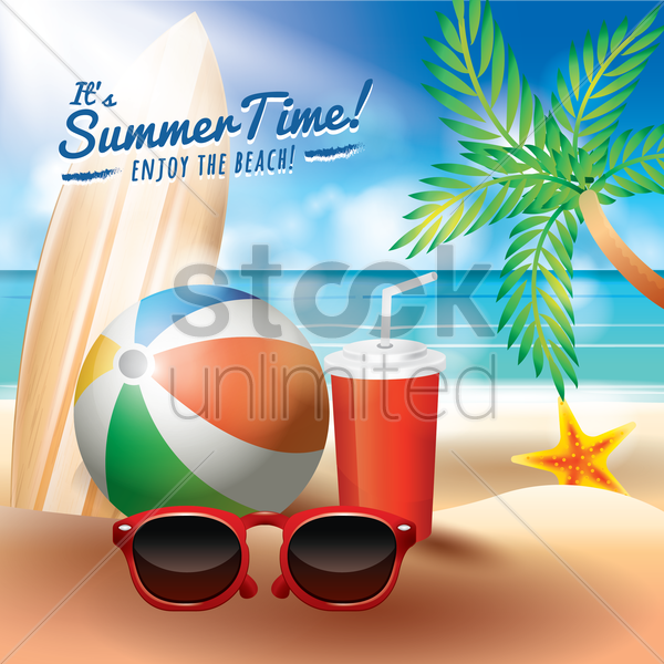 summer time in beach vector graphic