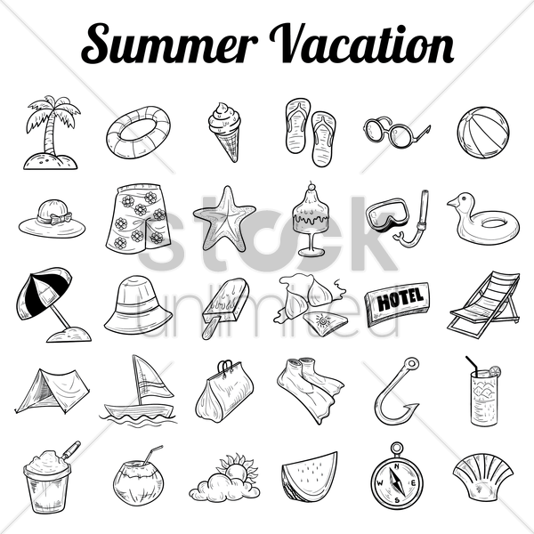 summer vacation icon collection vector graphic