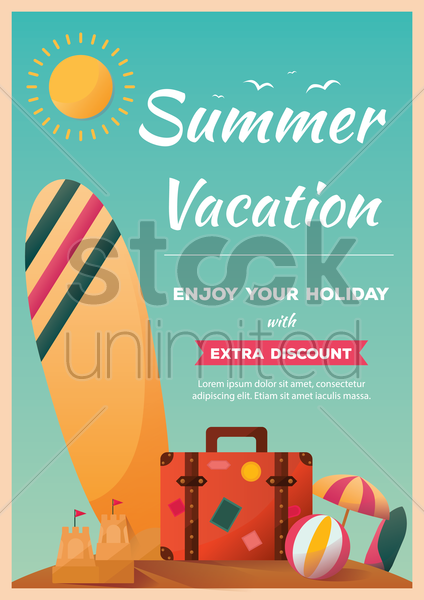 summer vacation poster vector graphic