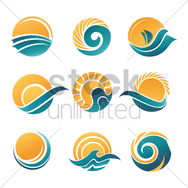 Sun and sea icons Vector Image - 1504568 | StockUnlimited