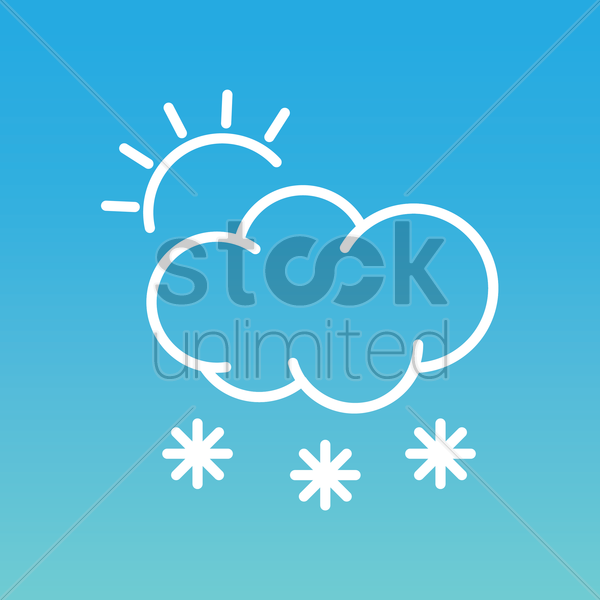 sun with cloud and snowflake vector graphic