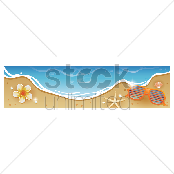 sunglasses on beach banner vector graphic