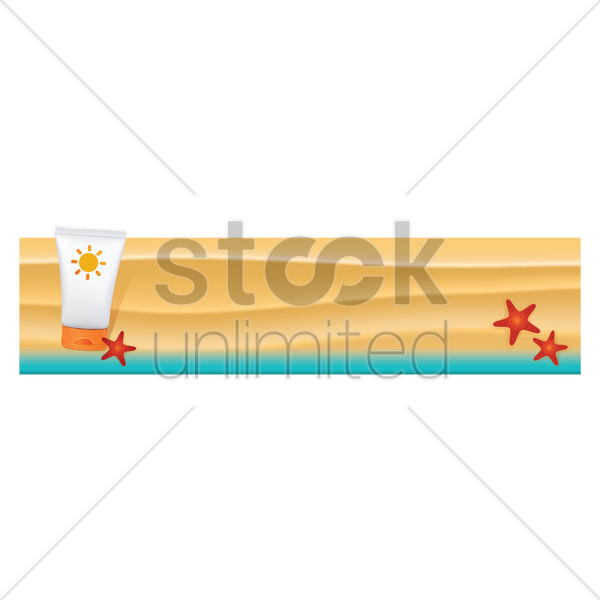 sunscreen cream on beach banner vector graphic