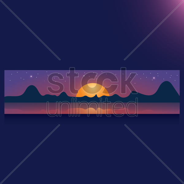 sunset banner vector graphic
