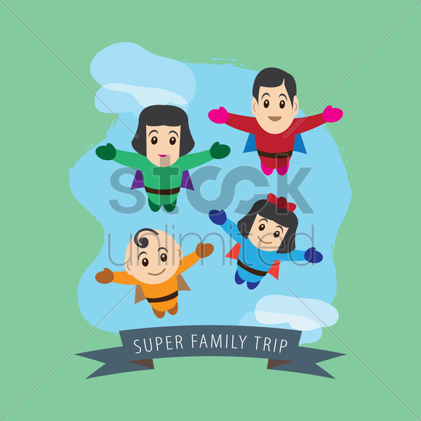 superheroes family vector graphic