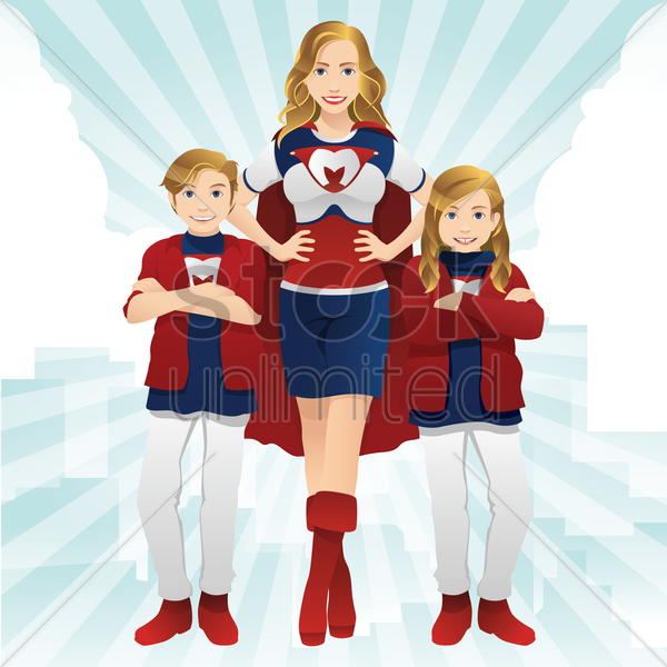 supermom with children vector graphic