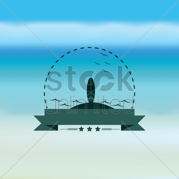 surfboard and banner vector graphic