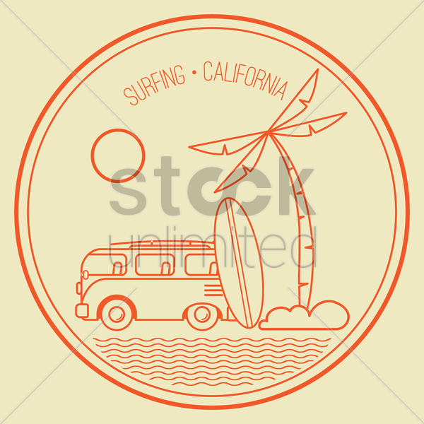 surfing design vector graphic