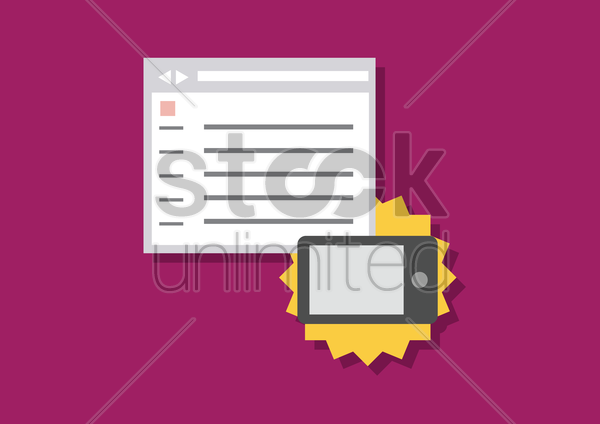 surfing the internet using smart phone vector graphic