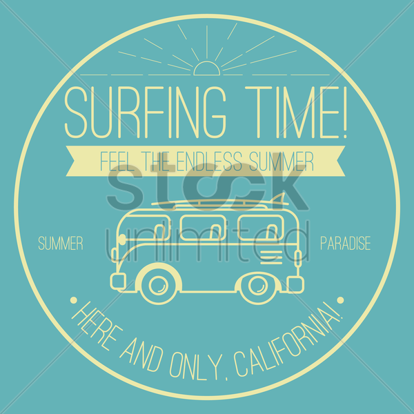 surfing time design vector graphic