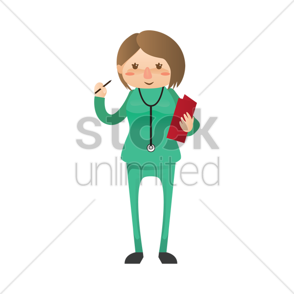 surgeon holding medical report vector graphic