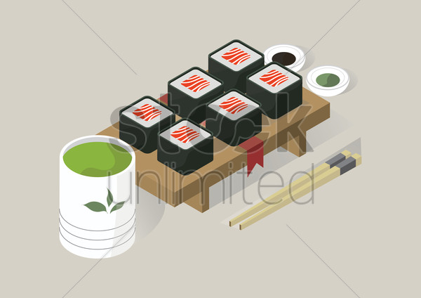 sushi rolls and sauces vector graphic