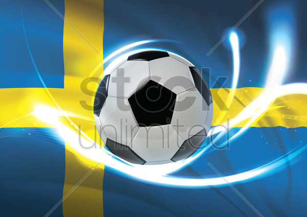 sweden flag with soccer ball vector graphic