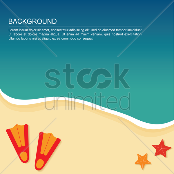 swimming flipper on beach background vector graphic