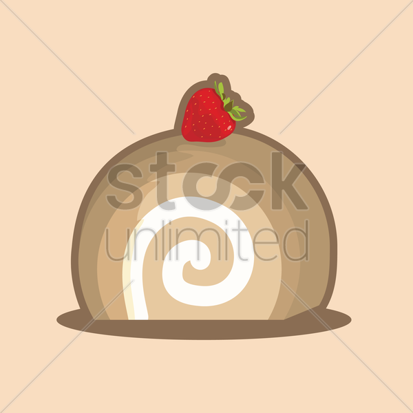 swiss roll with a strawberry vector graphic