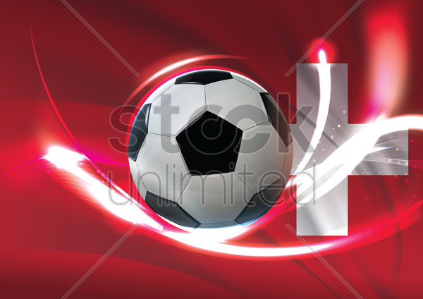 switzerland flag with soccer ball vector graphic