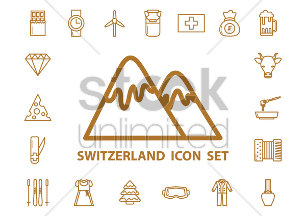 switzerland icons vector graphic