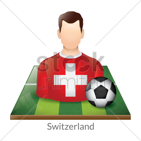 switzerland player with soccer ball on field vector graphic