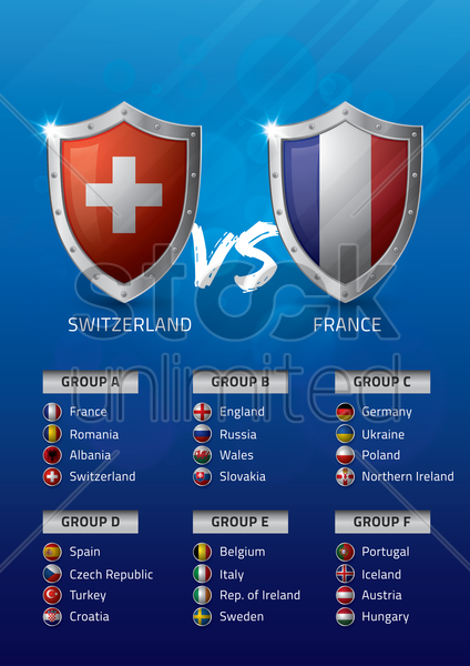 switzerland vs france vector graphic