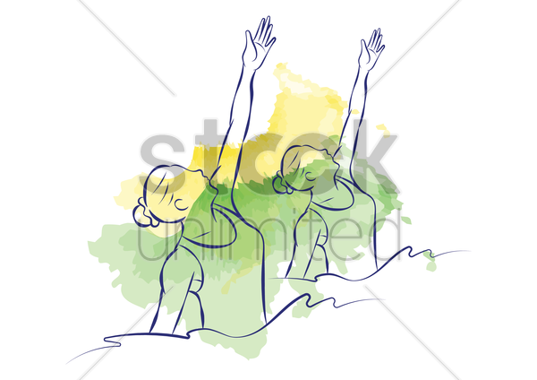 synchronised swimming vector graphic