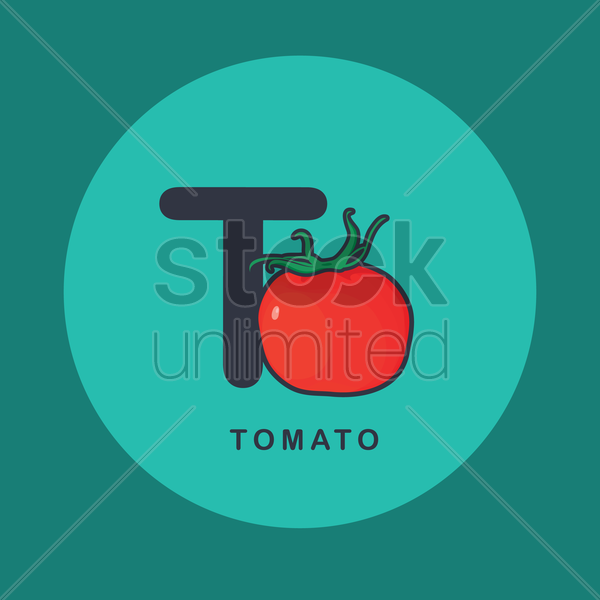 Free t for tomato. vector graphic