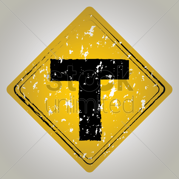 t intersection ahead sign vector graphic