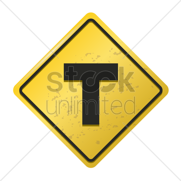 t-intersection ahead warning sign vector graphic
