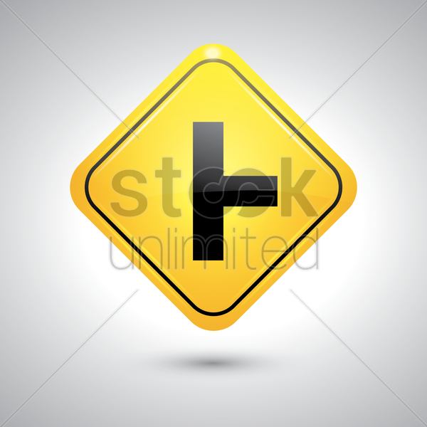 t intersection right sign vector graphic